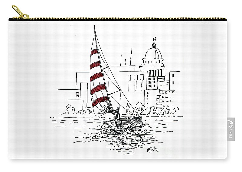 Sail Boat Carry-all Pouch featuring the drawing Sail Away by Marilyn Smith