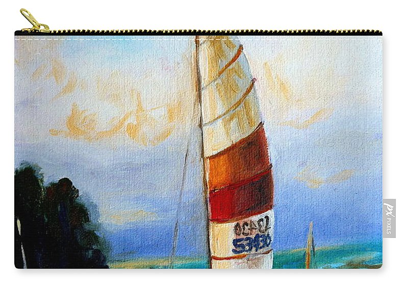 Sail Boats On The Lake Carry-all Pouch featuring the painting Sail Boats On The Lake by Carole Spandau