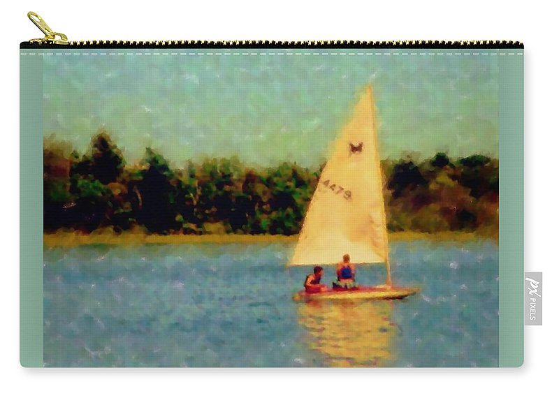 Sailboat Carry-all Pouch featuring the digital art Sailboat by Anita Burgermeister