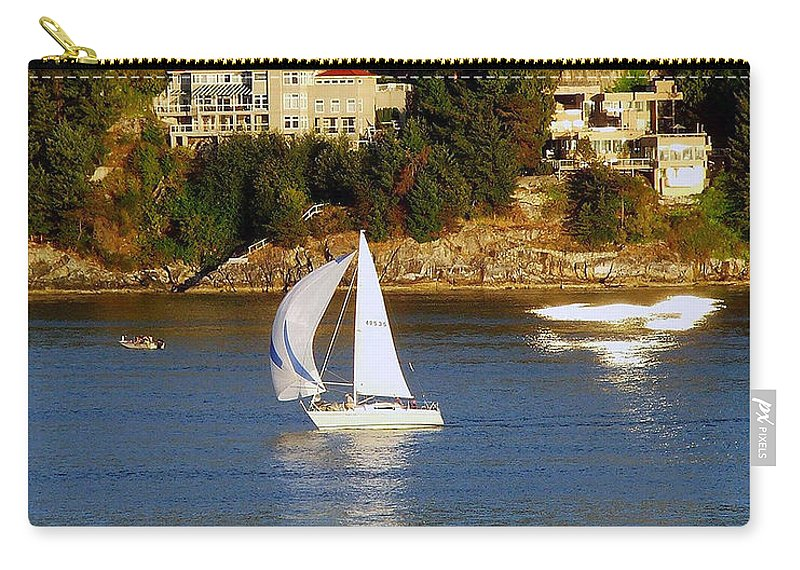 Sailboat Carry-all Pouch featuring the photograph Sailboat In Vancouver by Robert Meanor