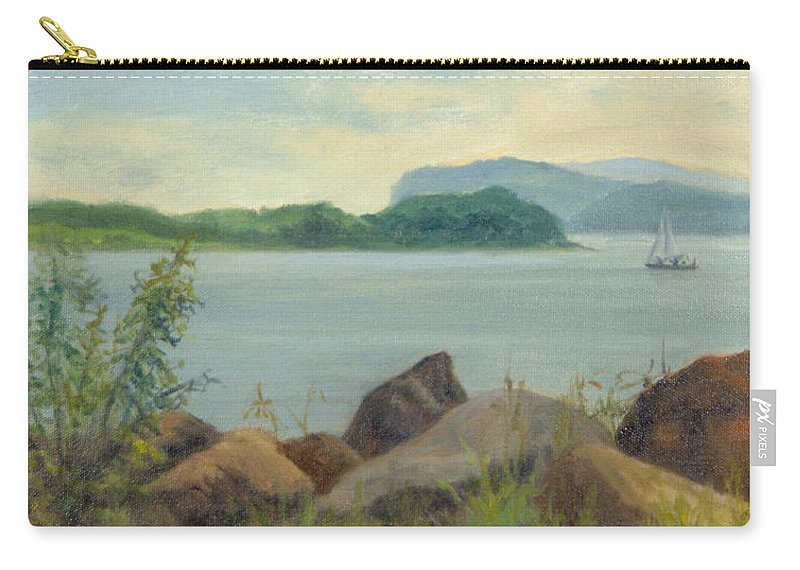 Oil Landscape Carry-all Pouch featuring the painting Sailboat Near Croton Landing by Phyllis Tarlow