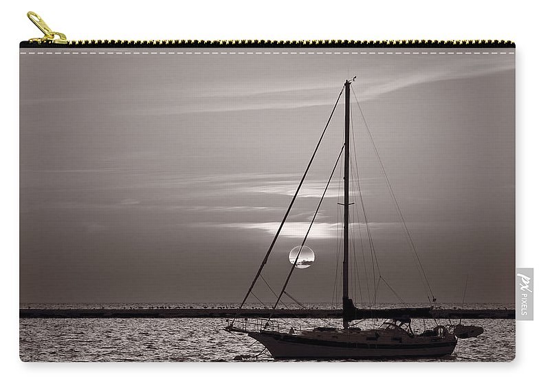 Boat Carry-all Pouch featuring the photograph Sailboat Sunrise In B And W by Steve Gadomski