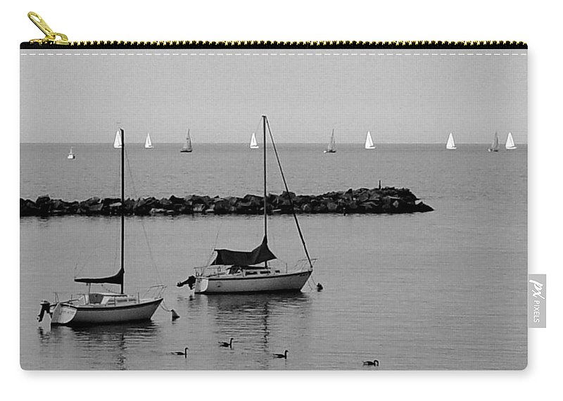 Sailboats Carry-all Pouch featuring the photograph Sailboats And Ducks B-w by Anita Burgermeister