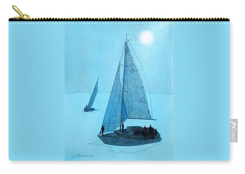 Ocean Carry-all Pouch featuring the painting Sailboats by Carole Mitchell