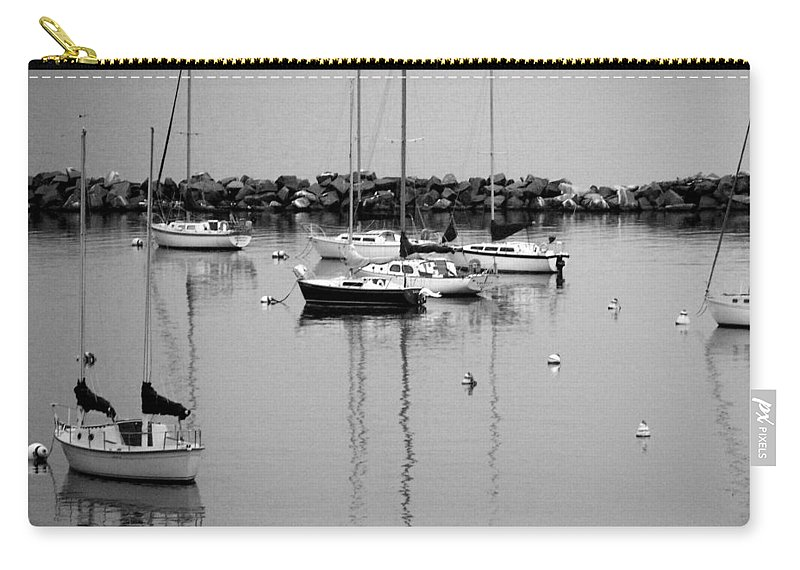 Sailboats Carry-all Pouch featuring the photograph Sailboats Resting B-w by Anita Burgermeister