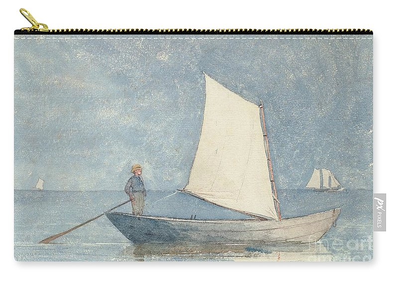 Boat Carry-all Pouch featuring the painting Sailing A Dory by Winslow Homer