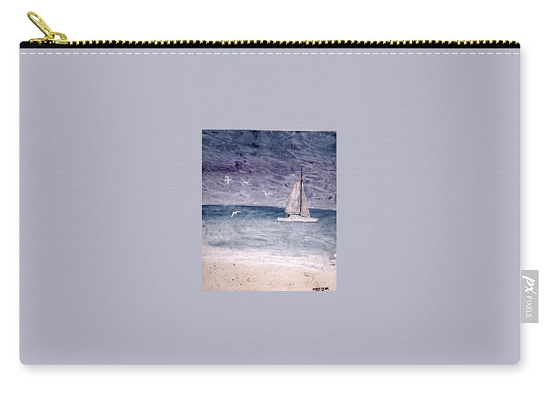 Watercolor Seascape Sailing Boat Landscape Painting Carry-all Pouch featuring the painting Sailing At Night Nautical Painting Print by Derek Mccrea