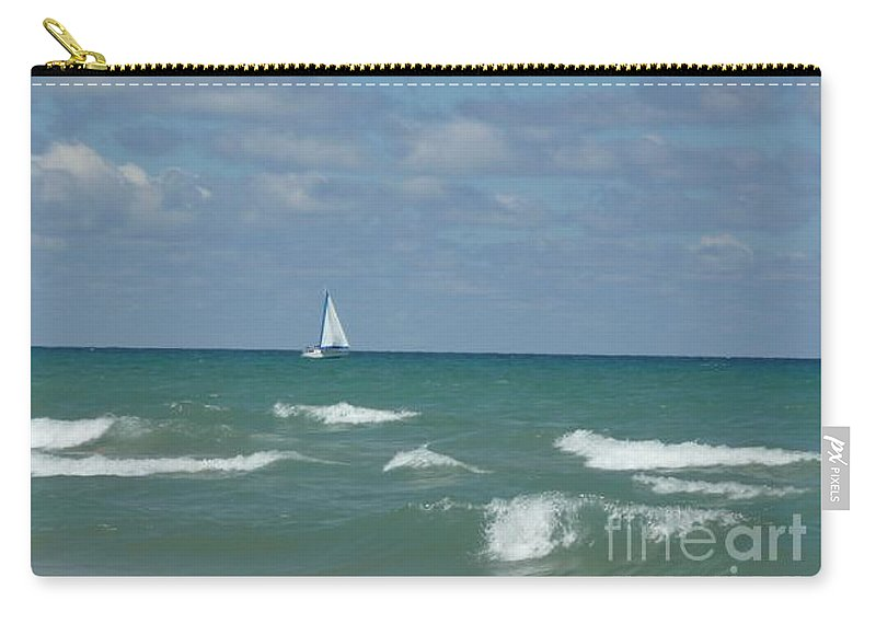 Scenery Carry-all Pouch featuring the photograph Sailing Away On The Lake by Barb Montanye Meseroll