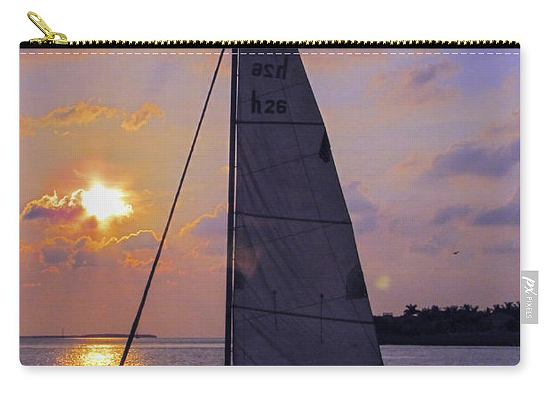 Sunset Carry-all Pouch featuring the photograph Sailing Home Sunset In Key West by Bob Slitzan