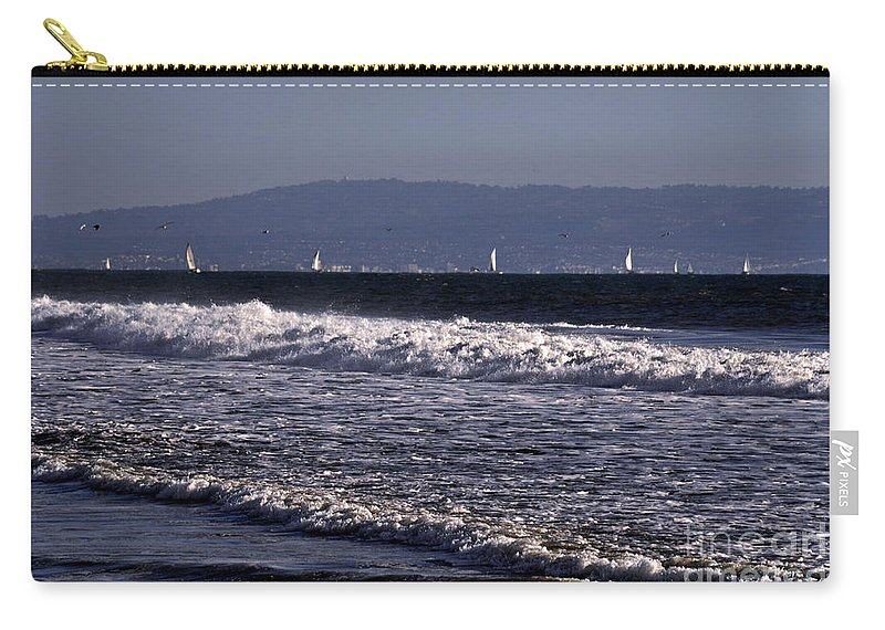 Clay Carry-all Pouch featuring the photograph Sailing In Santa Monica by Clayton Bruster