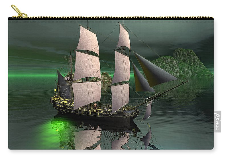 Sailship Carry-all Pouch featuring the digital art Sailship In The Night by John Junek