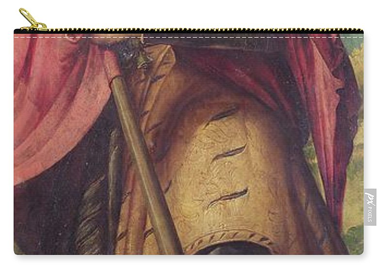 Alexander Carry-all Pouch featuring the painting Saint Alexander A Panel From The Altarpiece The Nativity With Saints by Girolamo Romanino