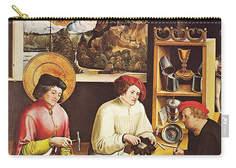Niklaus Manuel Deutsch Carry-all Pouch featuring the painting Saint Eligius In His Workshop by Niklaus Manuel Deutsch