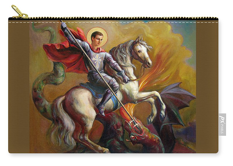 Saint George Carry-all Pouch featuring the painting Saint George And The Dragon by Svitozar Nenyuk