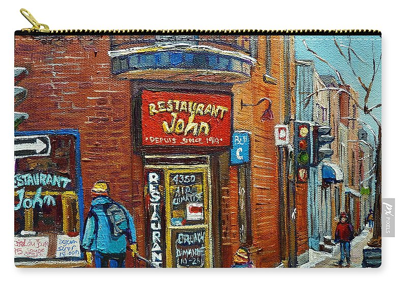 Restaurant John Montreal Carry-all Pouch featuring the painting Saint Henri Street In Winter by Carole Spandau