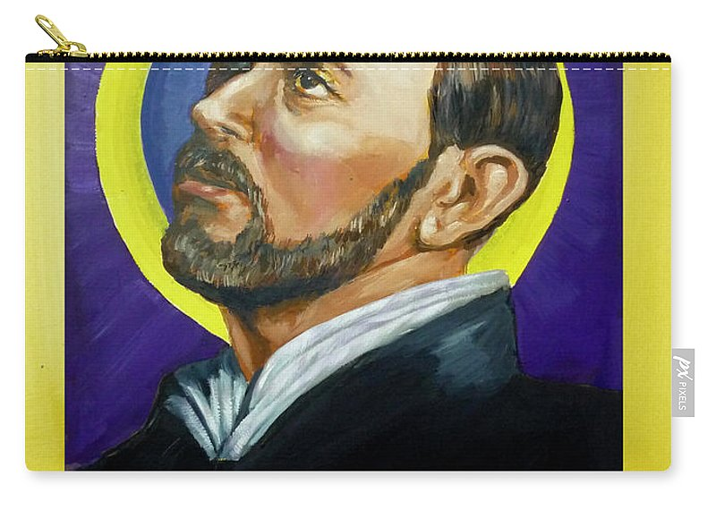 Saint Carry-all Pouch featuring the painting Saint Ignatius Loyola by Bryan Bustard