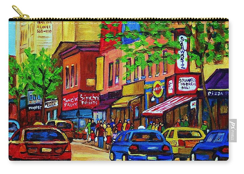 Cityscape Carry-all Pouch featuring the painting Saint Lawrence Street by Carole Spandau