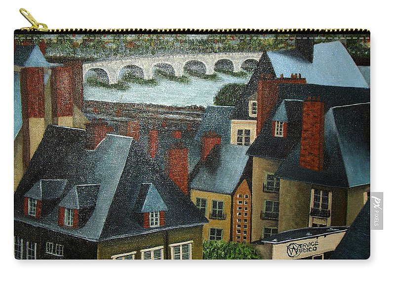 Acrylic Carry-all Pouch featuring the painting Saint Lubin Bar In Lyon France by Nancy Mueller