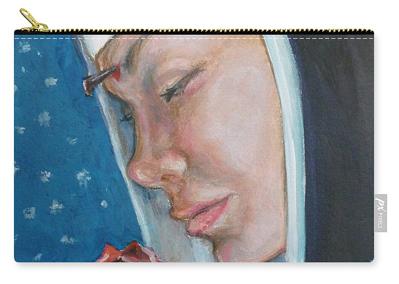 Saint Rita Carry-all Pouch featuring the painting Saint Rita Of Cascia by Bryan Bustard