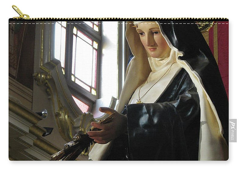 Saint Rita Carry-all Pouch featuring the digital art Saint Rita by Richard Faenza