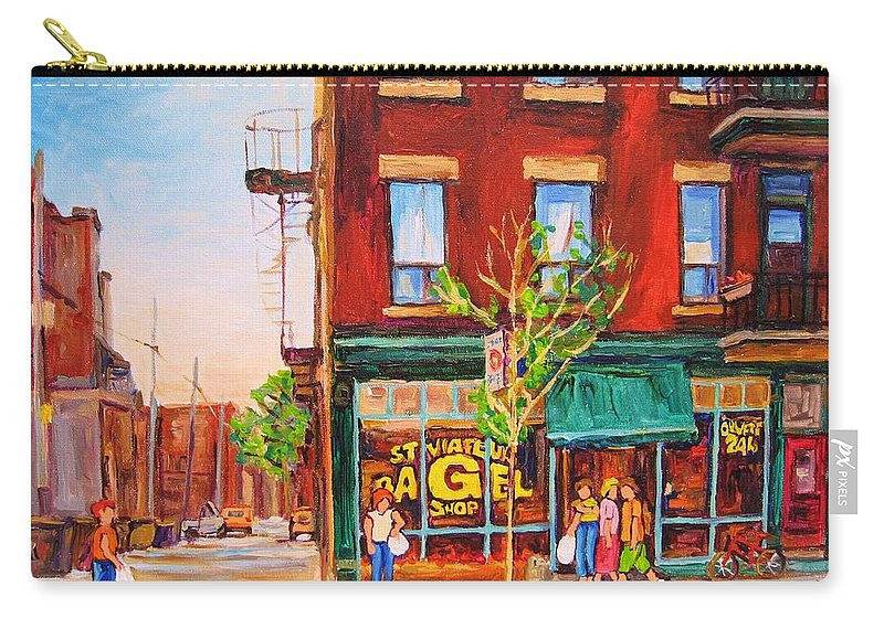 Montreal Carry-all Pouch featuring the painting Saint Viateur Bagel by Carole Spandau