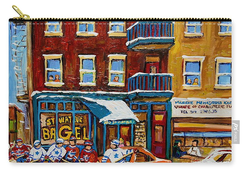 Montreal Carry-all Pouch featuring the painting Saint Viateur Bagel With Hockey by Carole Spandau