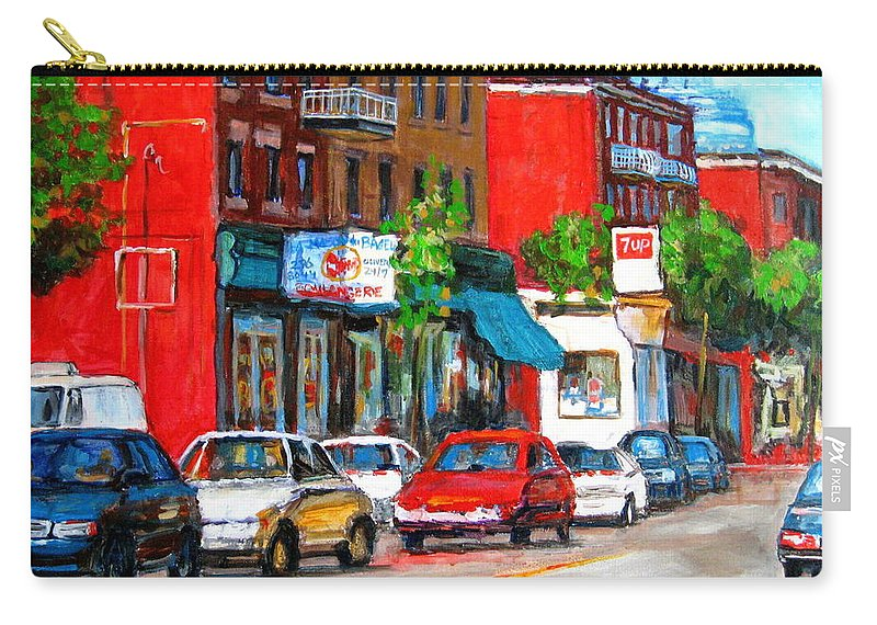 St.viateur Bagel Carry-all Pouch featuring the painting Saint Viateur Street by Carole Spandau