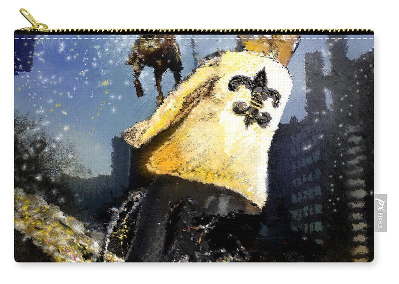 New Orleans Carry-all Pouch featuring the painting Saints Summit In New Orleans by Miki De Goodaboom