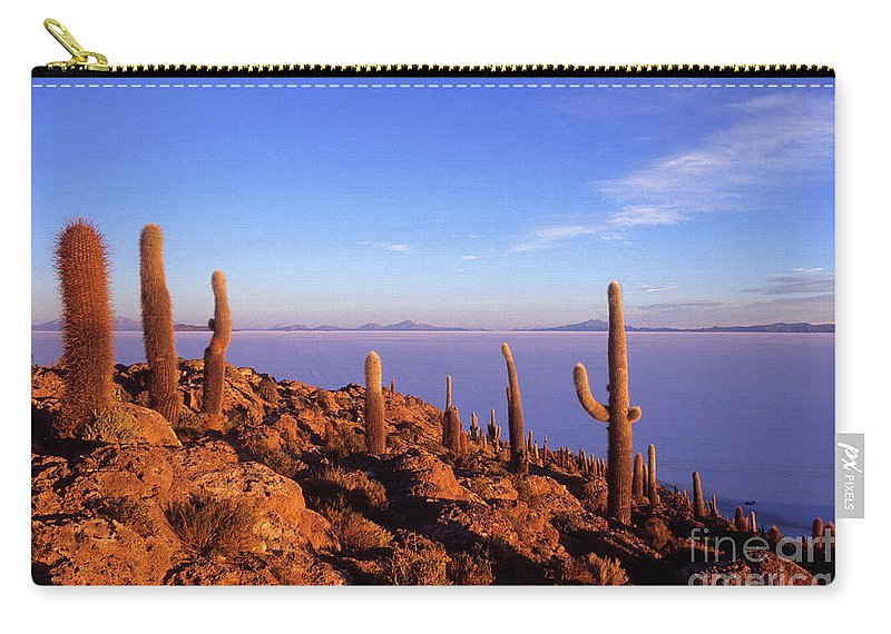 Bolivia Carry-all Pouch featuring the photograph Salar De Uyuni And Cacti At Sunrise by James Brunker