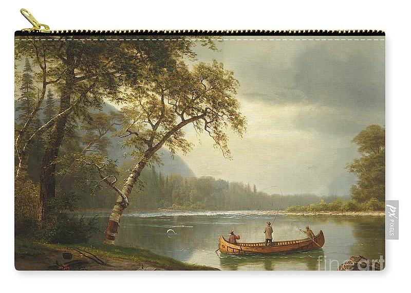 Landscape; Rural; Countryside; Canadian; Fishermen; Boat; Leisure; Calm; Peaceful; Kayak; Camp; Campfire; Fire; Kettle; Scenic; Riverbank Carry-all Pouch featuring the painting Salmon Fishing On The Caspapediac River by Albert Bierstadt