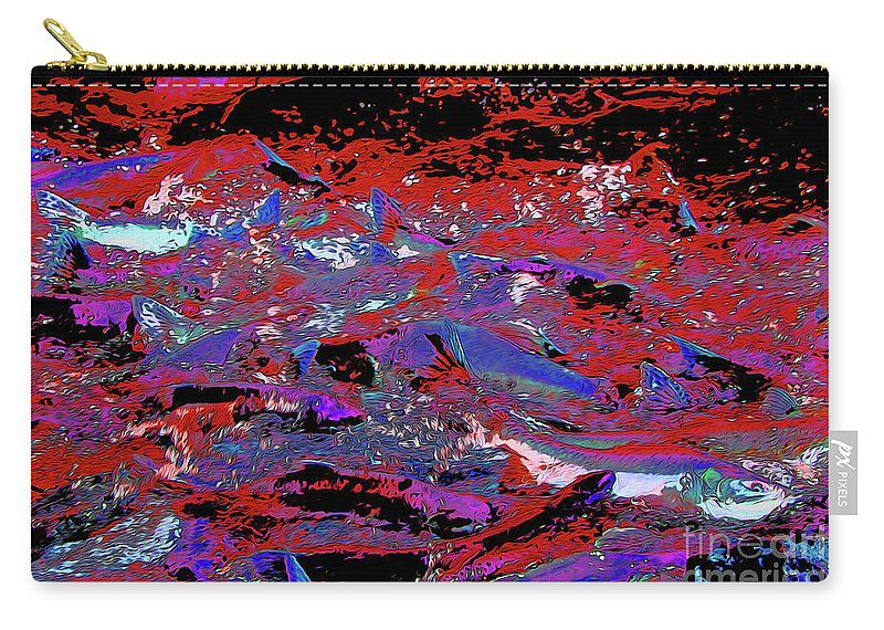 Salmon Run 11 Carry-all Pouch featuring the digital art Salmon Run 11 by Chris Taggart