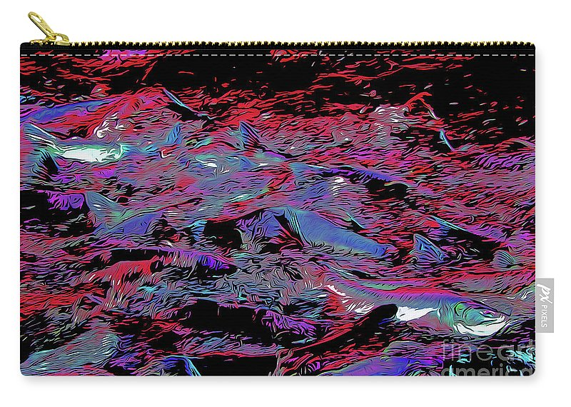 Salmon Run 8 Carry-all Pouch featuring the digital art Salmon Run 8 by Chris Taggart