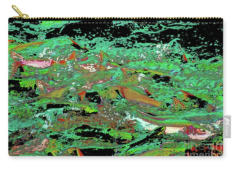 Salmon Run 9 Carry-all Pouch featuring the digital art Salmon Run 9 by Chris Taggart