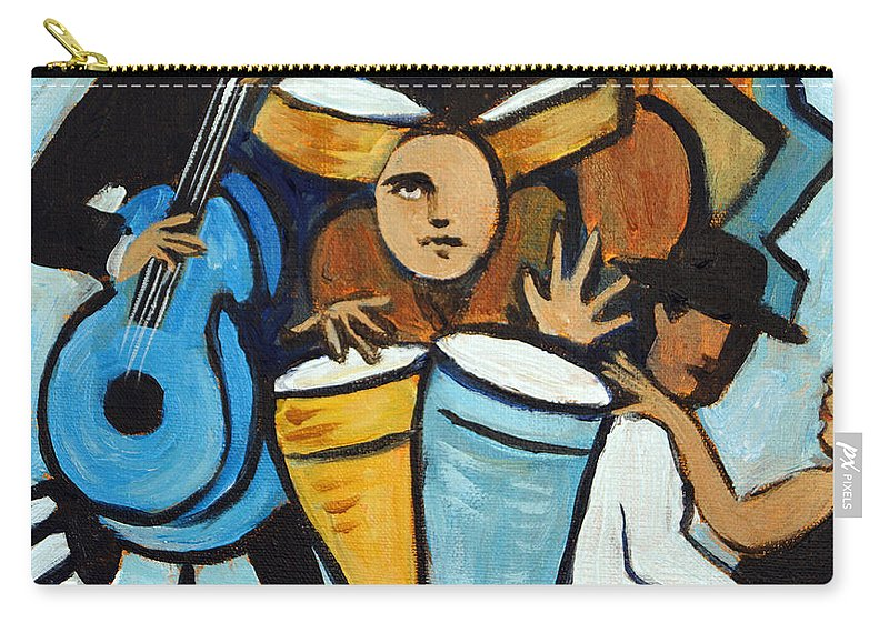 Cubist Salsa Dancers Carry-all Pouch featuring the painting Salsa Night by Valerie Vescovi