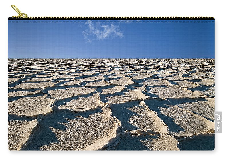 Blue Carry-all Pouch featuring the photograph Salt Flats Death Valley National Park by Steve Gadomski