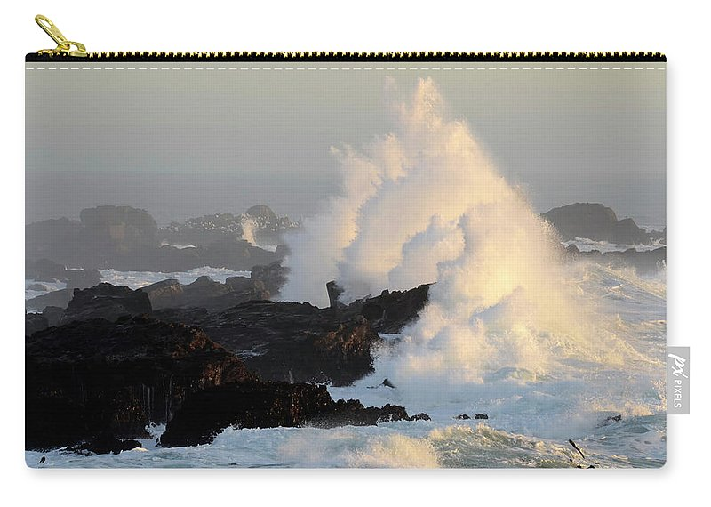 Waves Carry-all Pouch featuring the photograph Salt Point Wave by Bob Christopher