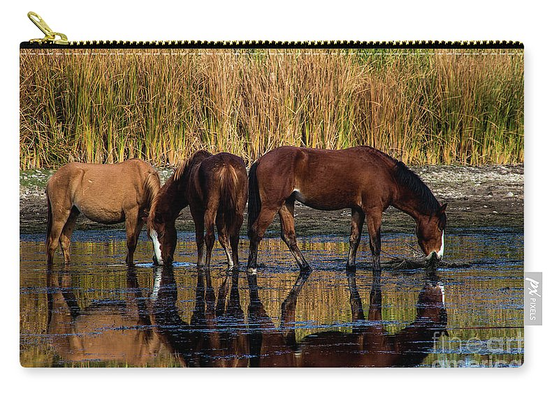 Arizona Carry-all Pouch featuring the photograph Salt River Horses by Kathy McClure
