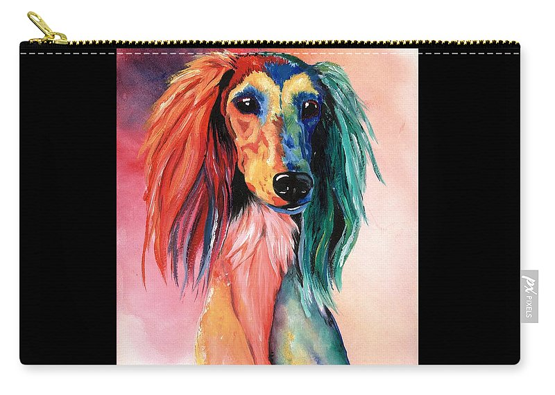 Saluki Carry-all Pouch featuring the painting Saluki Sunset by Kathleen Sepulveda