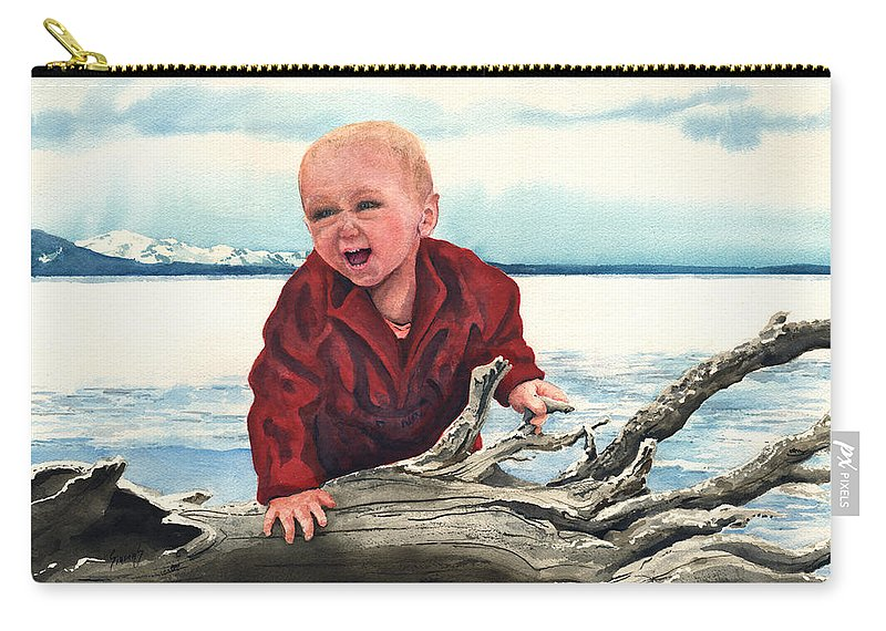 Child Carry-all Pouch featuring the painting Sam And The Log by Sam Sidders