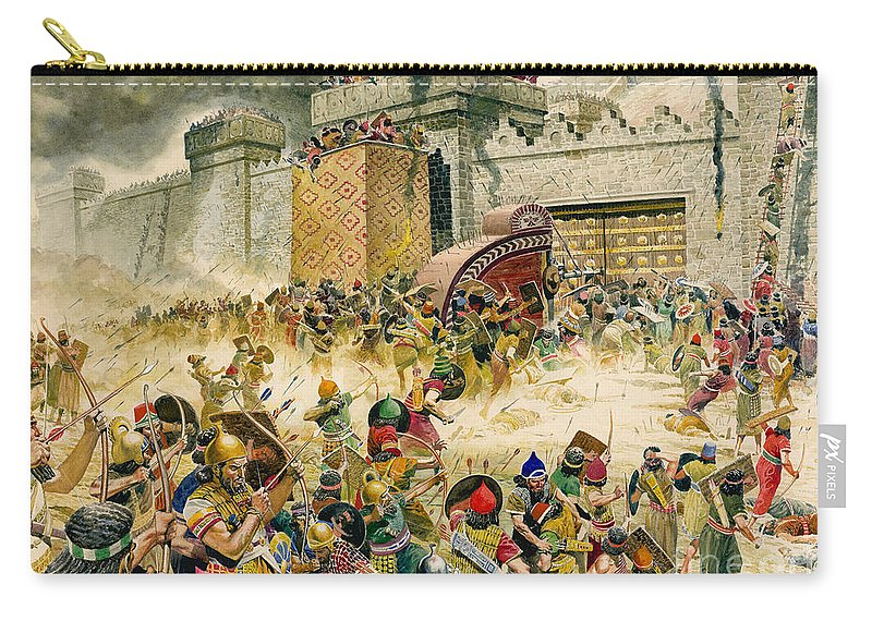 Samaria Carry-all Pouch featuring the painting Samaria Falling To The Assyrians by Don Lawrence