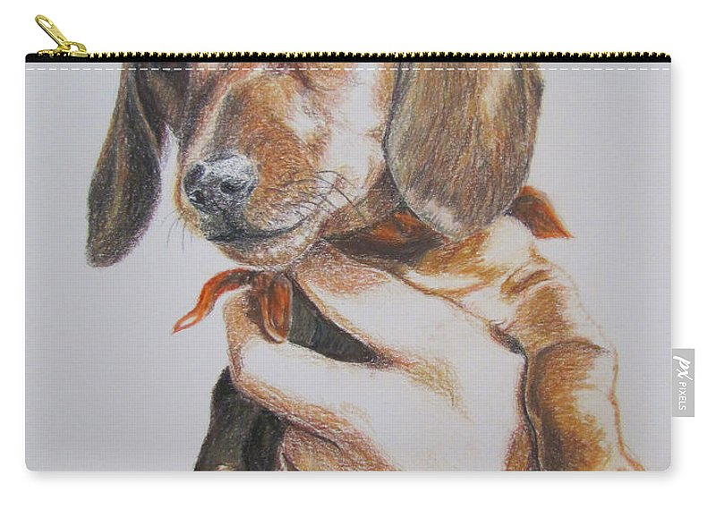 Puppy Carry-all Pouch featuring the drawing Sambo by Karen Ilari