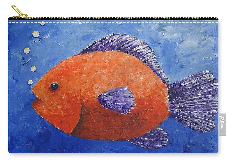 Fish Carry-all Pouch featuring the painting Sammy by Suzanne Theis