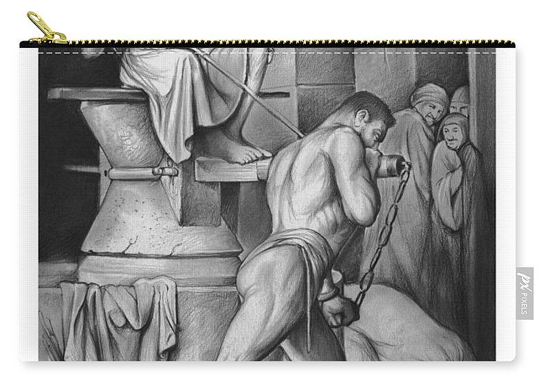 Samson Carry-all Pouch featuring the drawing Samson by Greg Joens