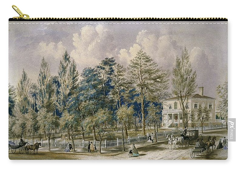 Frances Flora Palmer (american Carry-all Pouch featuring the painting Samuel Fleet Homestead by Flora Palmer