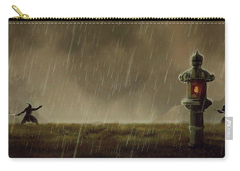 Samurai Carry-all Pouch featuring the digital art Samurai by Maye Loeser