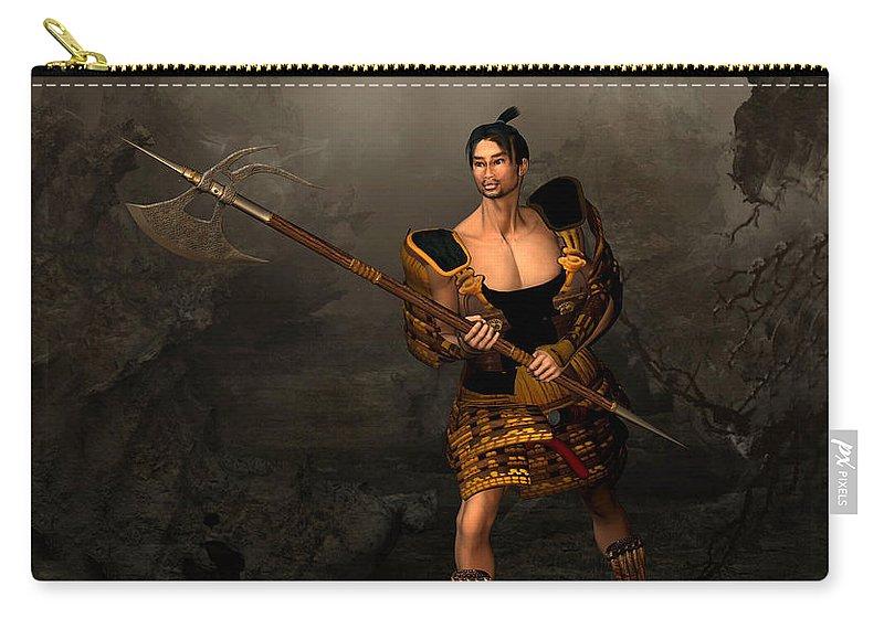 Samural Warrior Carry-all Pouch featuring the digital art Samural Warrior by John Junek
