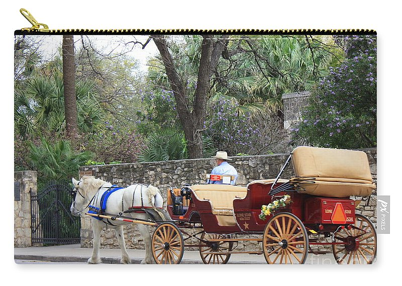 San Antonio Carry-all Pouch featuring the photograph San Antonio Carriage by Carol Groenen