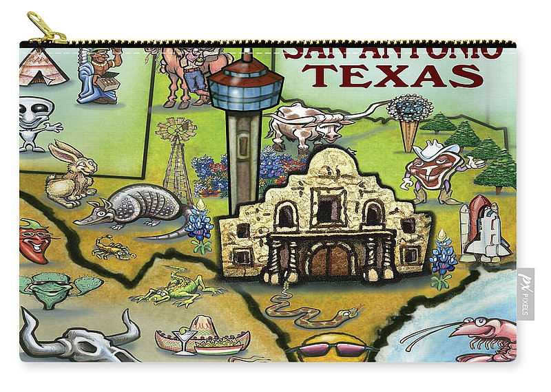 San Antonio Carry-all Pouch featuring the digital art San Antonio Texas by Kevin Middleton