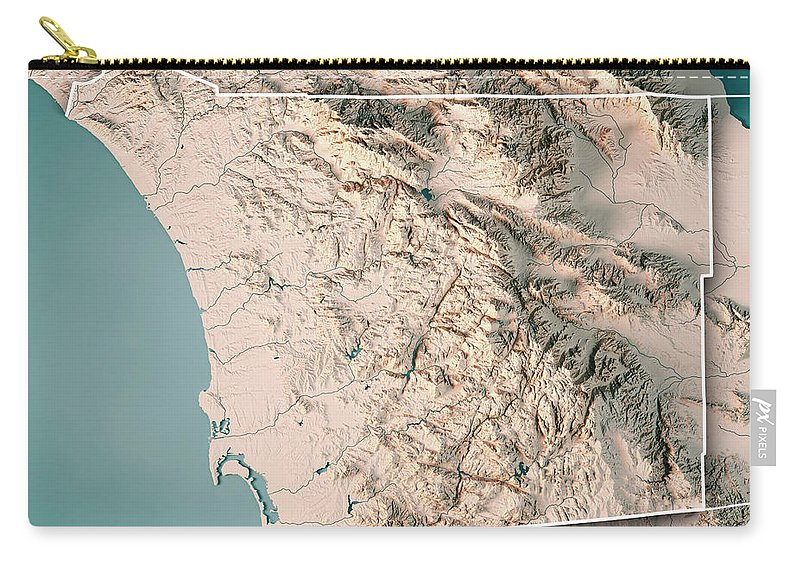 Topographic Map Of San Diego.San Diego County California Usa 3d Render Topographic Map Neutra