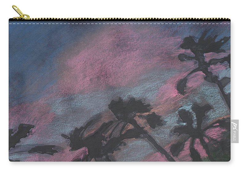 Contemporary Tree Landscapes Carry-all Pouch featuring the drawing San Diego Palms by Leah Tomaino